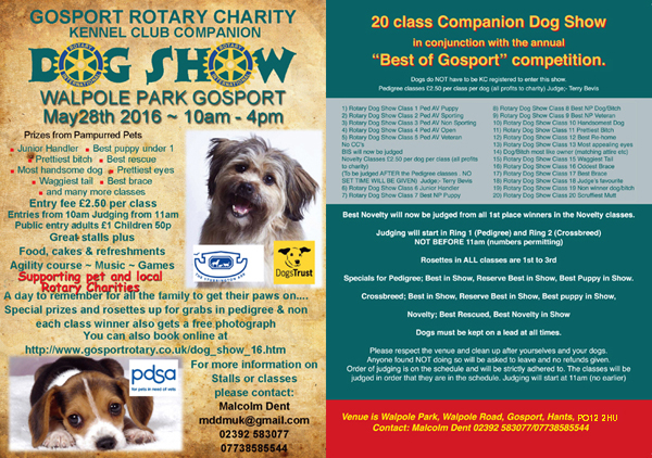 Gosport Rotary Dog Show May 28th