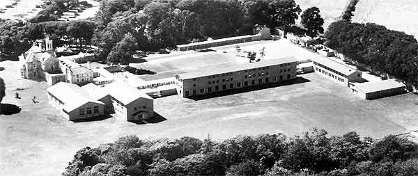 Bay House School Gosport from the air in black & white
