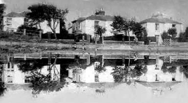 Alver Lake showing old cottages 1940's